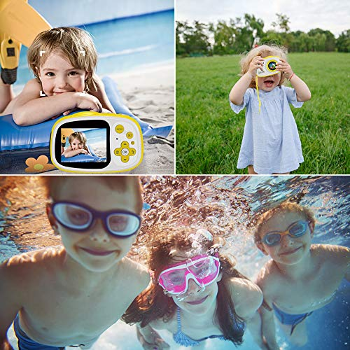 Kids Waterproof Camera 8MP 2.0 Inch HD Screen Camera Camcorder with 6X Digital Zoom Rechargeable Toddler Video Camera with Photo Frame