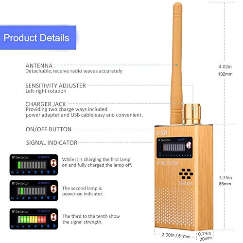 Bug Detector GPS Tracker Detector Adjustable Detection Sensitivity GSM CDMA Wireless Signal Audio Bug RF Finder Device WiFi Bluetooth Device Scanner