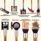 Makeup Brush Set 11Pcs Bamboo Synthetic Kabuki Brush Set Foundation Powder Blending Concealer Eye shadows Blush Cosmetics Brushes with Organizer Bag & Makeup Sponge