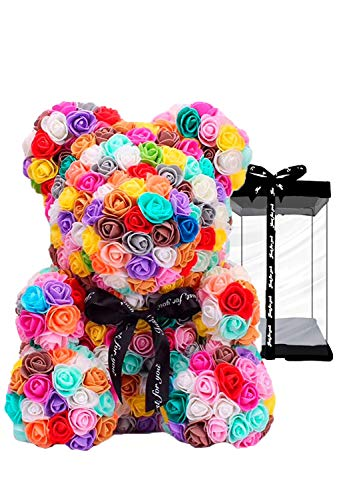 meosu Rose Flower Teddy Bear,Fully Assembled 10 Inches PE Rose Flower Hand Made Artificial Teddy Bear, for Your Lover or Kids (Colorful)