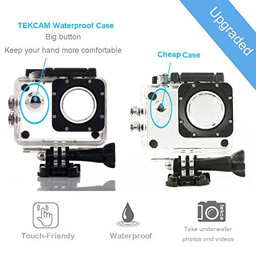 Sports Action Camera Waterproof Case Underwater Protective Housing for EK7000 EK5000/ DBPOWER EX5000/ WiMiUS Q1Q2/ Vemont / EKEN H9R/ Campark X15 4K