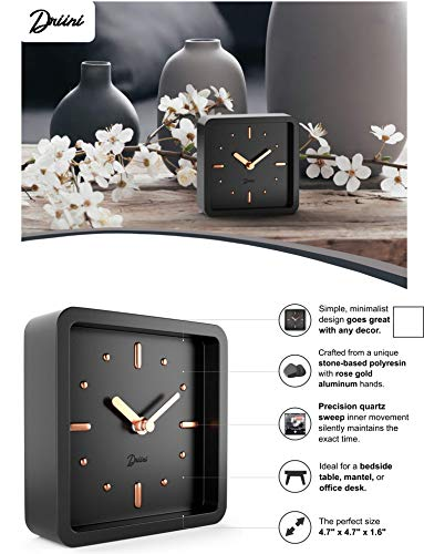 Modern Mid Century Desk Table Analog Clock Black Rose Gold Battery Operated Silent Sweep Movement Small Square Desktop Clocks Mantel Nightstand Office