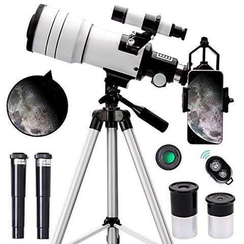 Telescope for Kids Adults Beginners 70mm Aperture 300mm Astronomical Refractor Telescope 15X-150X Portable Travel Telescope with an Adjustable Tripod