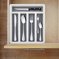 Silverware Tray for Drawer Five Sections Flatware Organizer Cutlery Holder Soft Grip Lining Non-slip Rubber Feet Multi-Purpose Storage for Kitchen