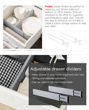FanBell 4 Packs Bamboo Kitchen Adjustable Drawer Dividers, Organizers, Spring Loaded, Gray, 16.8-21.8 IN