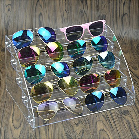 Sunglasses Organizer Clear Eyeglasses Display Case Eyewear Storage Tray Box For Glasses Tabletop Holder Stand (6 layer)