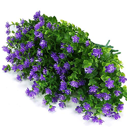 ArtBloom 6 Bundles Outdoor Artificial Flowers UV Resistant Fake Boxwood Plants, Faux Plastic Greenery for Indoor Outside Hanging Plants Garden Porch Window Box Home Wedding Farmhouse Decor (Purple)