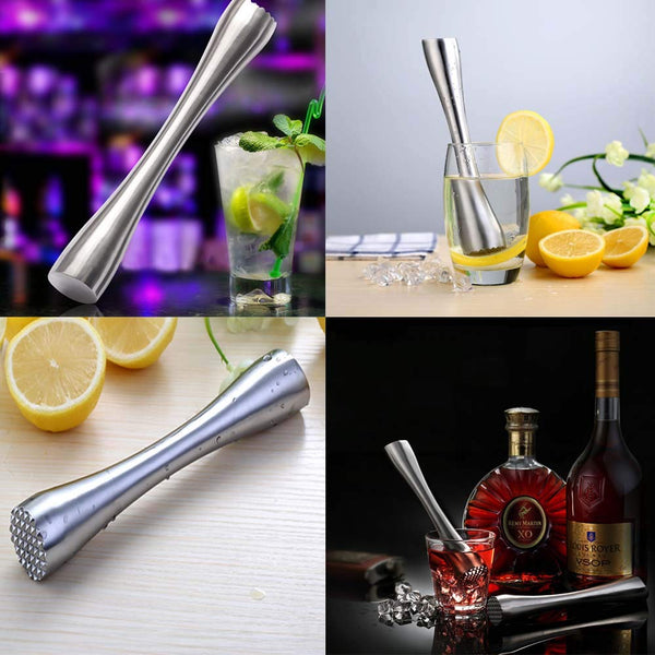 "Stainless Steel Cocktail Muddler 8"" Professional Old Fashioned & Mojitos Drink Muddler Ideal Bartender Tool"