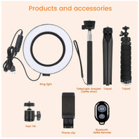 6 inch Selfie Ring Light with Tripod Stand & Phone Holder & Selfie Stick for Live Stream/Photography/Makeup,Dimmable LED Ringlight 3 Modes 10 Brightness Levels for TikTok/YouTube(Upgraded)