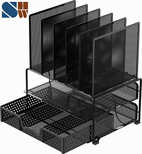 Mesh Desk Organizer with Sliding Drawer, Double Tray and 5 Upright Sections, Black