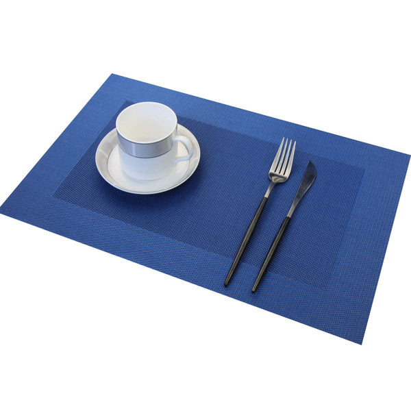 FanBell Vinyl Placemats Heat-Resistant Table Mats Washable Easy Clean Plastic Placemats for Dining Table Set of 4(Blue)