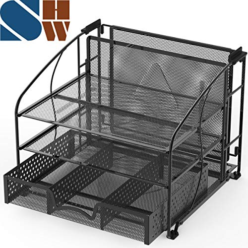 Desk Organizer 3 Tray w/Sliding Drawer and Hanging File Holder, Black