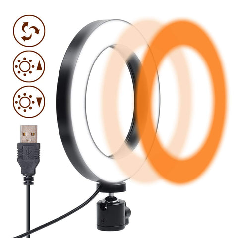 Ring Light 6 Inches - 3 Color Lights & 10 Dimmable Brightness, Premium LED Makeup Lighting for Streaming, YouTube Video, Photo, Photography, Selfie