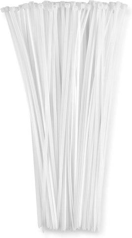 "12"" Inch Zip Ties White (100 Pack), 40lb Strength, Nylon Cable Wire Ties, By FanBell"