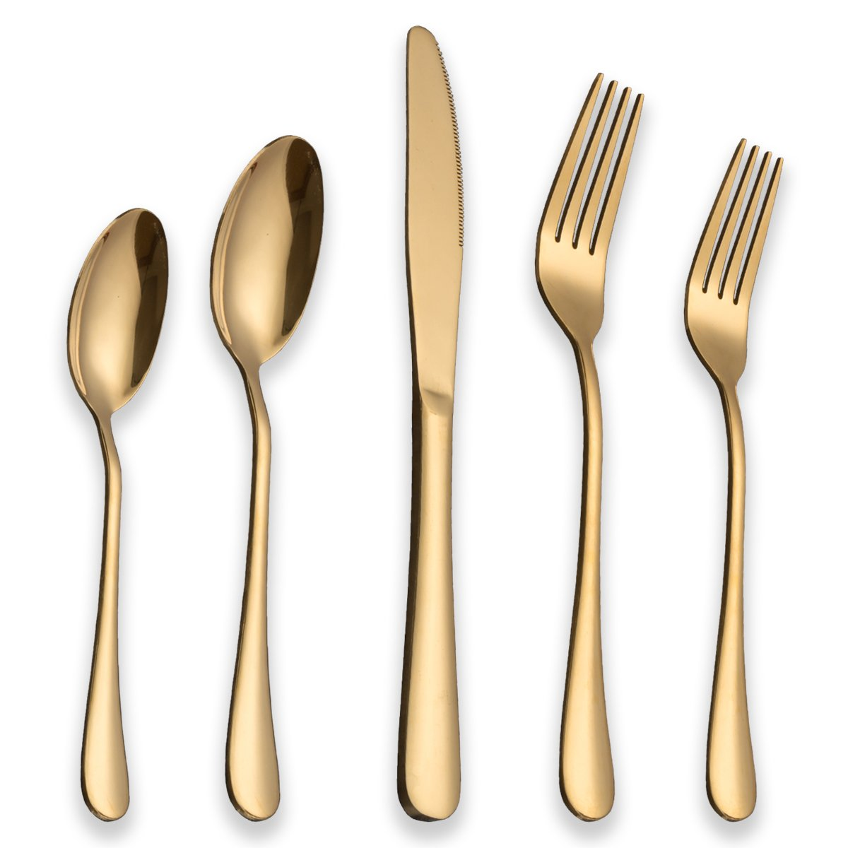 FanBell Flatware Set 20 Piece, Stainless Steel Titanium Gold Plated, Golden Color Flatware Set, Silverware, Cutlery Set Service For 4 (Shiny Gold)