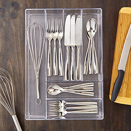 FanBell Clear Plastic Silverware and Utensil Organizer