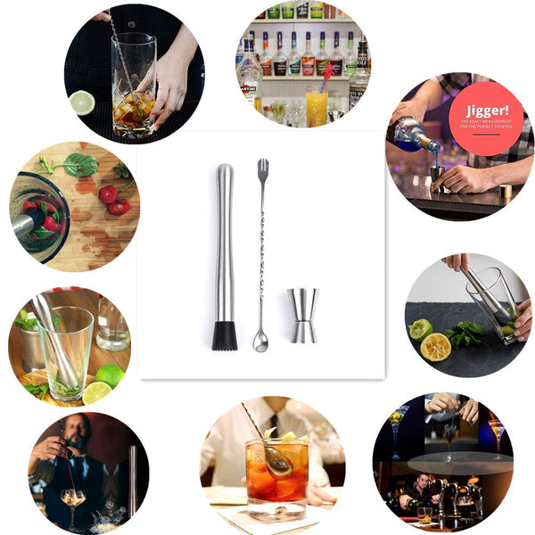 FanBell Professional Grade Bar Tool Durable Muddler Pestle, Stainless Steel Cocktail Mixed Spoon Mojito Muddler Bar Tool Set Pestle Grooved Nylon Head