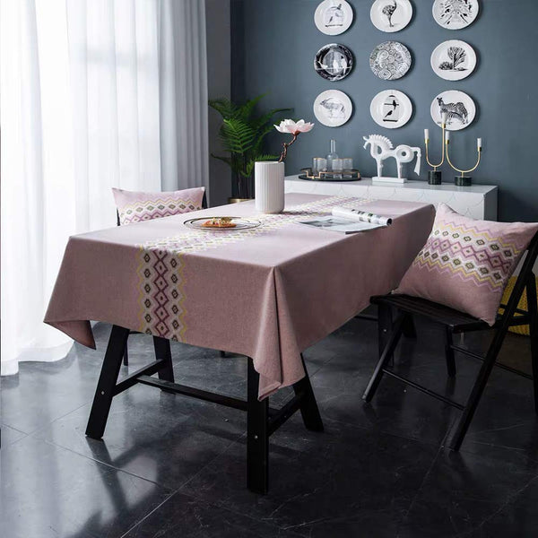 FanBell Round Table Cloth Wrinkle Free Stitching Tassel Tablecloth Cotton Linen Round Table Washable Tablecloths for Round Tables for Dining Kitchen
