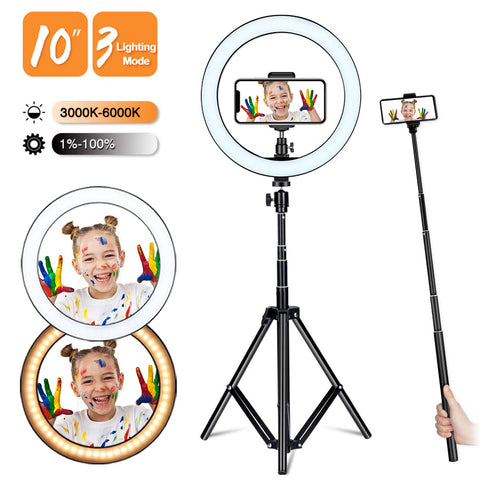 Selfie Ring Light Adjustable Tripod Stand Holder 10'' Dimmable LED Lighting Filming Equipment Photography Makeup Live Steaming Photo Vlog YouTube