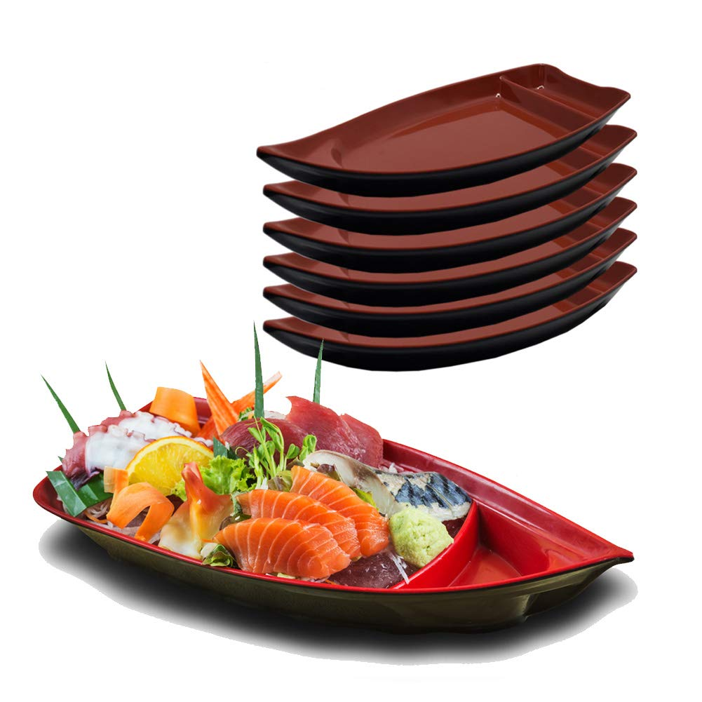 Set of 6, FanBell Blue Sushi Serving Boat, 10 x 4 inches, Sushi Boat Plate with Dipping Sauce Compartment