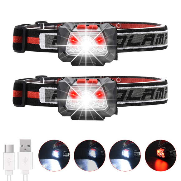 600 Lumen Rechargeable Headlamp Lightweight Running Headband Light Red Light Hand-Waved Motion Sensor 4 Modes IP66 Waterproof Kids Adults Fishing