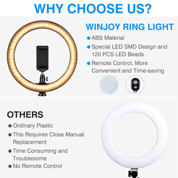 "Ring Light Tripod Stand 10"" Desk LED Makeup Ring Light Phone Holder Remote YouTube Video Photography Shooting 3 Modes 10 Brightness Level Compatible"