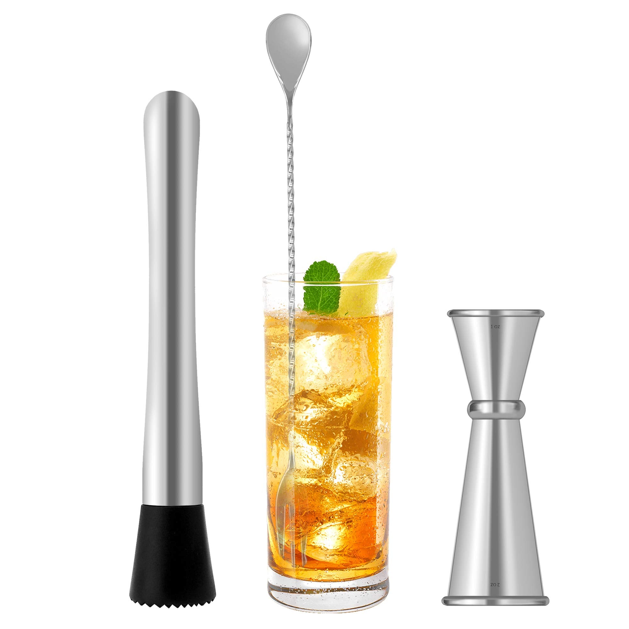 FanBell Cocktail Muddler and Mixing Spoon with Japanese Jigger Mojito Muddler Bar Tool Set