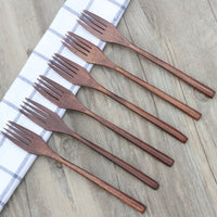 Wooden Forks for Eating Desserts, Chips, Snacks, Cereal, Salad, Fruit, ADLORYEA 6 Pieces Wood Fork, 9 Inch Long Handle Reusable Japanese Style Handmade Kitchen Utensil
