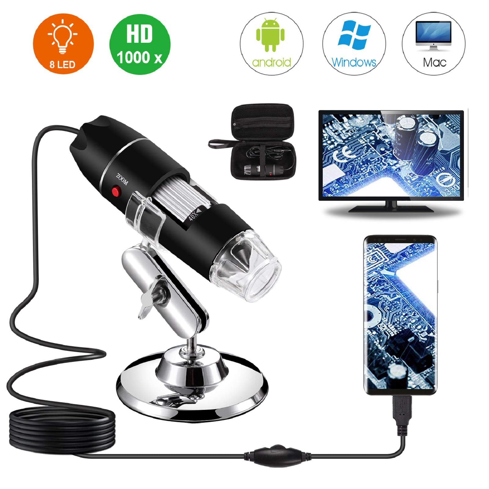 USB Digital Microscope 40X to 1000X 8 LED Magnification Endoscope Camera Carrying Case Metal Stand Compatible for Android Windows 7 8 10 Linux Mac