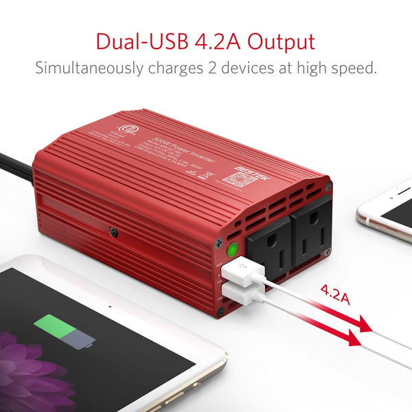 300W Power Inverter DC 12V to 110V AC Car Inverter with 4.2A Dual USB Car Adapter