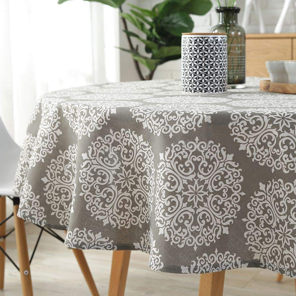"FanBell Medallion Floral Tablecloth - Cotton Linen Table Cover Kitchen Dining Room Restaurant Party Decoration (Round - 60"", Gray Medallion)"