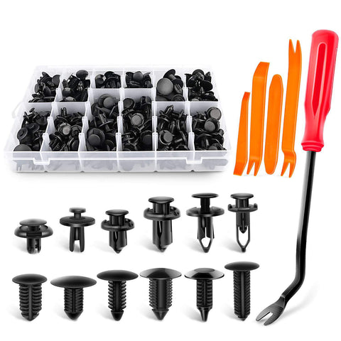 240PCS Bumper Retainer Clips Car Plastic Rivets Fasteners Push Retainer Kit Most Popular Sizes Auto Push Pin Rivets Set -Door Trim Panel Fender Clips