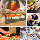 Sushi Making Kit Including 2 Sushi Rolling Mats, 5 Pairs of Chopsticks 1 Paddle 1 Spreader 1 Rice Making Tool 1 Beginner Guide Bamboo Sushi Roller Kit