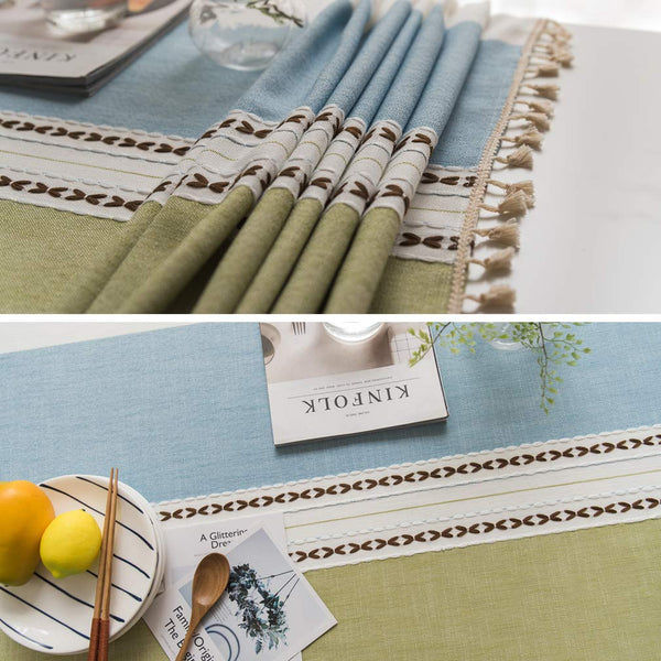 FanBell Linen Rectangle Tablecloth Table Cloth Heavy Weight Cotton Linen Dust-Proof Table Cover for Party Table Cover Kitchen Dinning