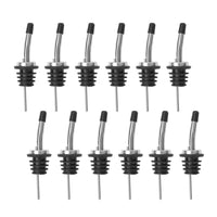 12 Pack Stainless Steel Classic Bottle Pourers Tapered Spout - Liquor Pourers with Rubber Dust Caps
