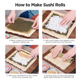 Bamboo Sushi Mat Making Kit with Guide Book Rolling 2 Bamboo Mats 5 Chopsticks 1 Rice Mold 2 Temaki Rollers 1 Rice Spreader 1 Rice Paddle