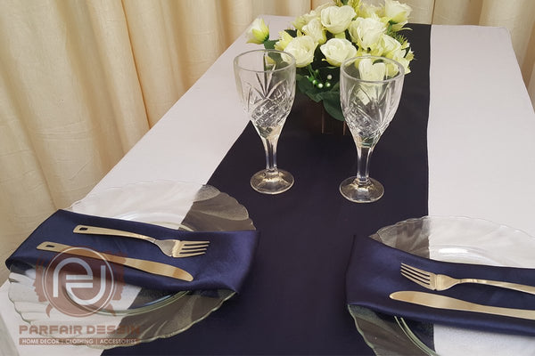 FanBell Pack of 10 Satin Table Runners Wedding Banquet Reception Party Decoration, Bright Silk and Smooth Fabric Party Table Runner