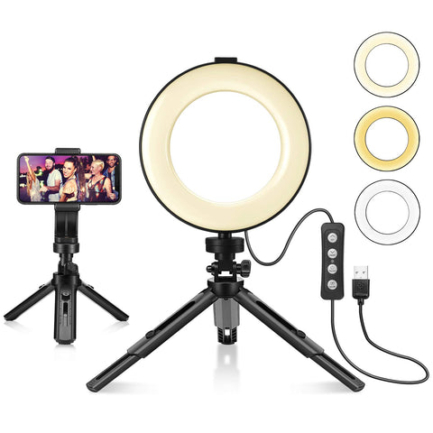 "LED Ring Light 6"" Tripod Stand Phone Holder for Live Streaming YouTube Video Dimmable Desk Makeup Photography Shooting 3 Modes 11 Brightness Level"