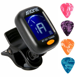 Clip On Guitar Tuner For All Instruments Ukulele Guitar Bass Mandolin Violin Banjo Large Clear LCD Display For Chromatic 4 PCS Guitar Picks Included