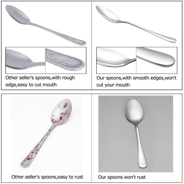 "16 Pcs 6.7"" Silver Large Premium Food Grade 18/10 Stainless Steel Tea Spoons Set Durable Metal Silverware Kitchen Set Mirror Finish Dishwasher Safe"