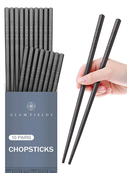 10 Pairs Fiberglass Alloy Chopsticks, FanBell Reusable Japanese Chinese Korean Chop sticks Dishwasher Safe, Non-slip, 9 1/2 inches