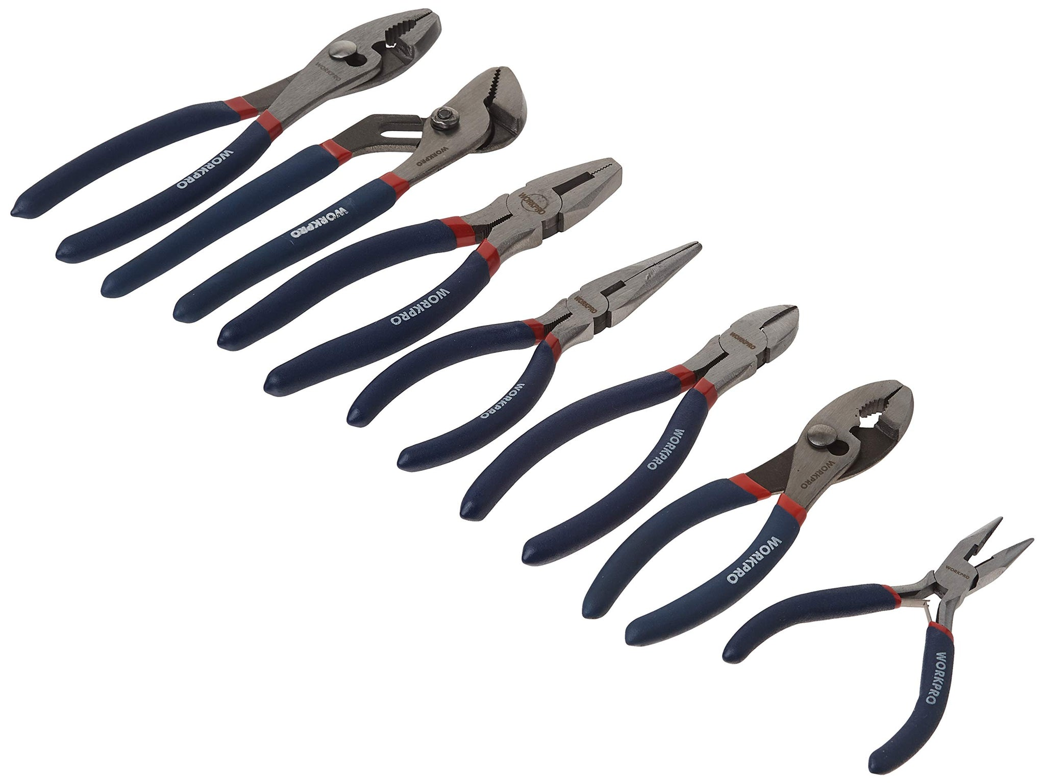 7piece Pliers Set 8-inch Groove Joint Pliers 6-inch Long Nose 6-inch Slip Joint 4-1/2 Inch Long Nose 6-inch Diagonal 7-inch Linesman 8-inch Slip Joint