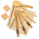 FanBell Classic 10 Pieces Sushi Making Kit, Bamboo Sushi Set with 2 x Sushi Mats, Rice Paddle, Spreader, Mixing Spoon and 2 dipping dishes, Sushi Kit