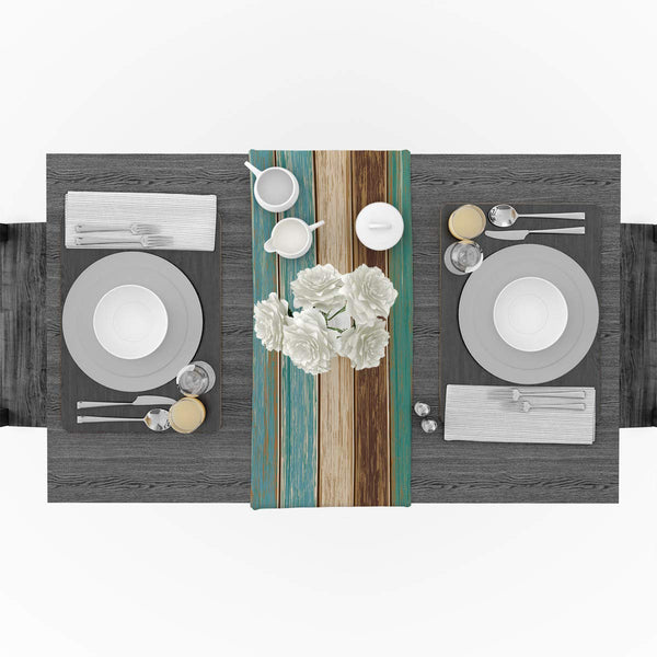 FanBell Linen Burlap Table Runner Dresser Scarves, Retro Old Wood Barn Kitchen Teal Table Runners for Dinner Holiday Parties, Wedding, Events, Decor
