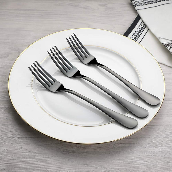 FanBell Forks Set, Good Stainless Steel 10-piece Black Silverware Cutlery Reusable Dinner Forks
