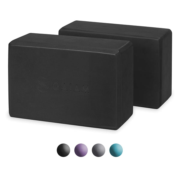 Essentials Yoga Block (Set Of 2) - Supportive Latex-Free Eva Foam Soft Non-Slip Surface For Yoga, Pilates, Meditation, Black