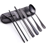 Portable Stainless Steel Flatware Set, Travel Camping Cutlery Set, Portable Utensil Travel Silverware Dinnerware Set with a Waterproof Case