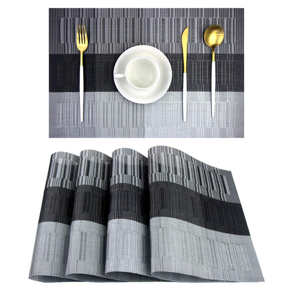 FanBell Placemats,Washable Vinyl Woven Table Mats,Elegant Placemats for Dining Table Set of 4(Black)