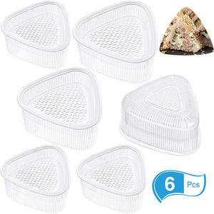 6 Pieces Triangle Sushi Mold Form Maker Triangle Mold DIY Tool, White (Large, Small)
