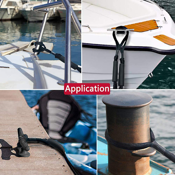 Boat Bungee Dock Llines Double Braided Nylon Mooring Ropes for Boats Boat Pontoon Accessories Perfect for Jet Ski SeaDoo WaveRunner Kayak Pontoon PWC